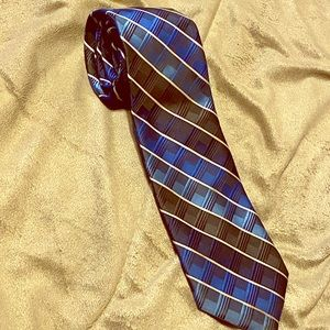 Tie blue and black patterned